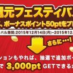 ちょびリッチ「年末超還元フェスティバル」開催!最大3000ptゲット!